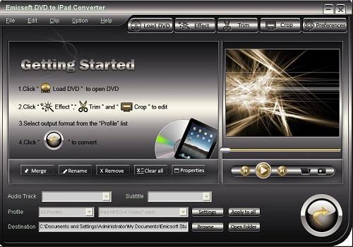 Capture d'écran Emicsoft DVD to iPad Converter