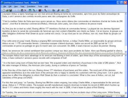Capture d'écran @promt Personal Translator English-Fr