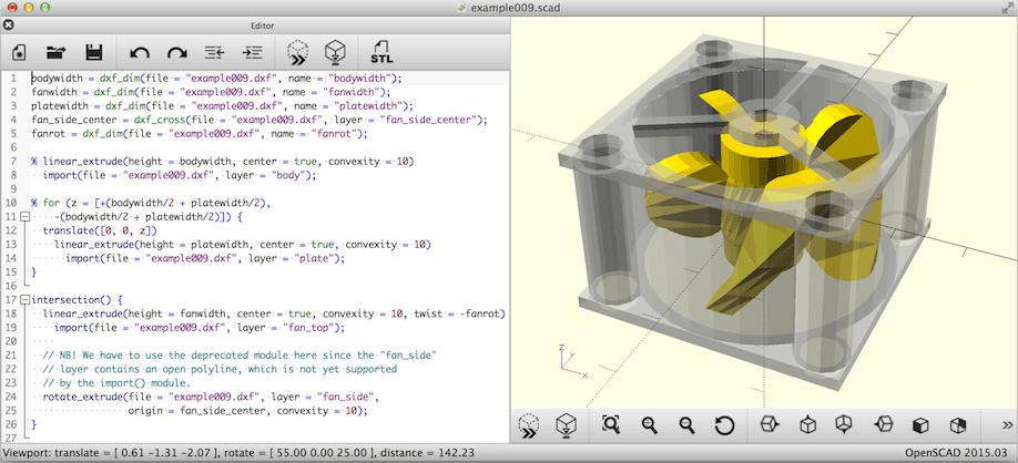 Capture d'écran OpenSCAD Mac