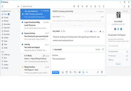 Capture d'écran Mailspring