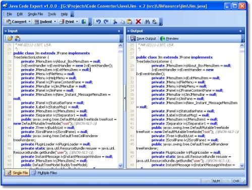 Capture d'écran Java Code Export