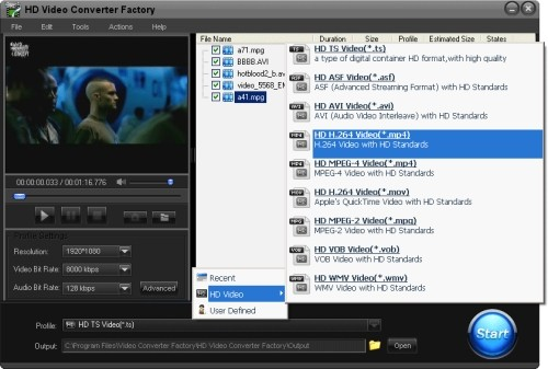 Capture d'écran Free MP4 Video Converter Factory