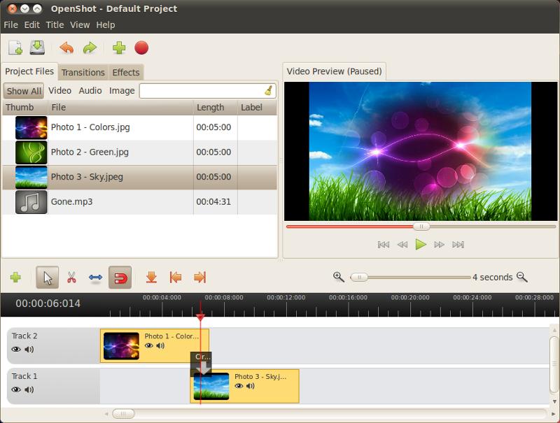 Capture d'écran OpenShot Video Editor Linux