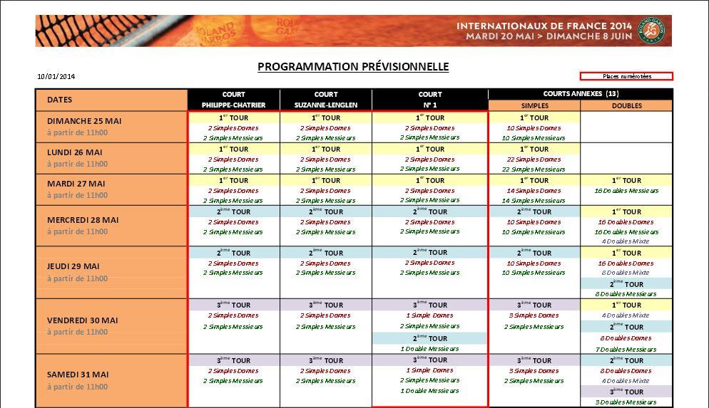 Capture d'écran Programme Roland-Garros 2014 Mac