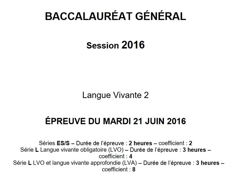 Capture d'écran Bac 2016 Allemand LV2 Séries L, ES et S