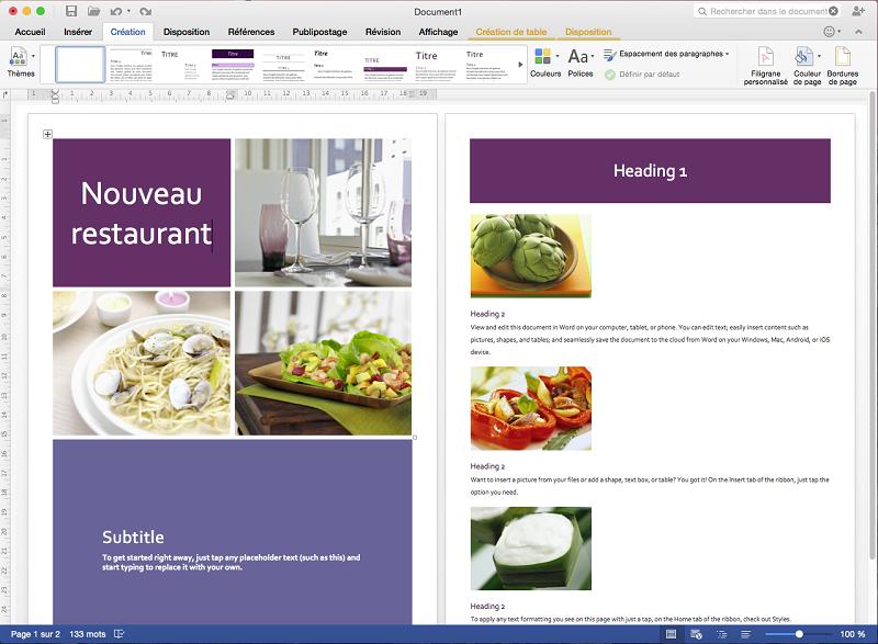 Capture d'écran Microsoft Office 2016 Mac