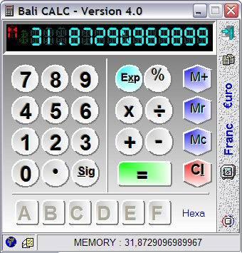 Capture d'écran Bali CALC