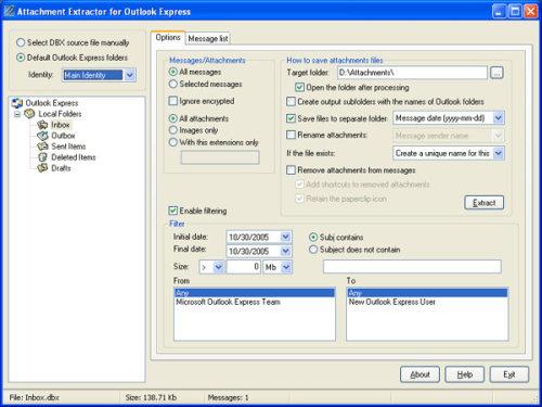 Capture d'écran Attachment Extractor for Outlook Express