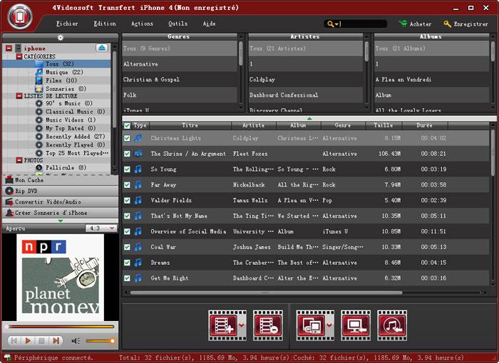 Capture d'écran 4Videosoft Transfert iPhone 4