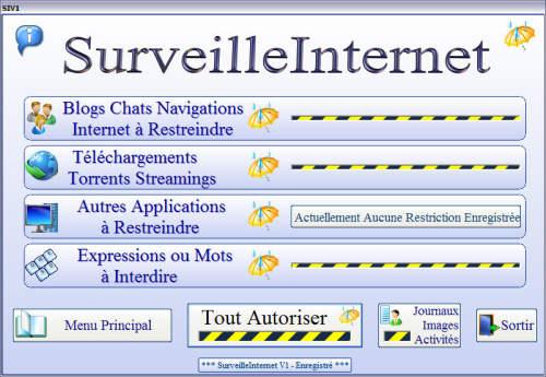 Capture d'écran SurveilleInternetV1 1.0.0.74 2013