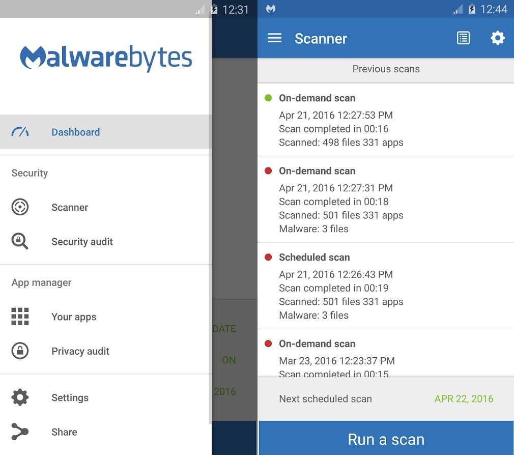 Capture d'écran Malwarebytes Anti-Malware pour Android