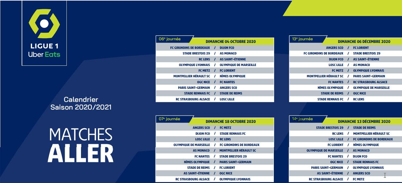 Capture d'écran Calendrier Ligue 1 2020 – 2021 PDF