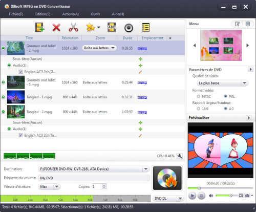 Capture d'écran Xilisoft MPEG en DVD Convertisseur