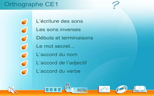 Capture d'écran Orthographe CE1