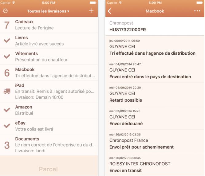 Capture d'écran Parcel – Suivi de livraison iOS