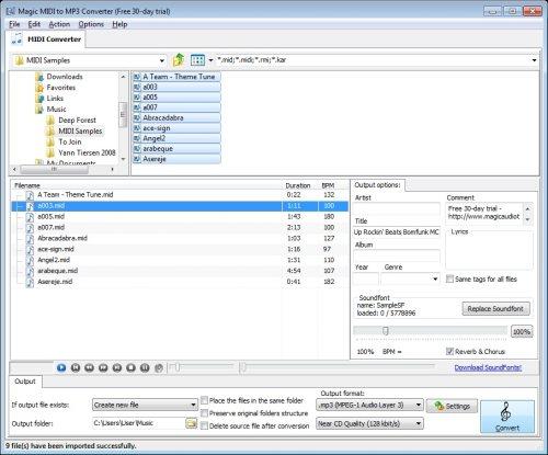 Capture d'écran Magic MIDI to MP3 Converter