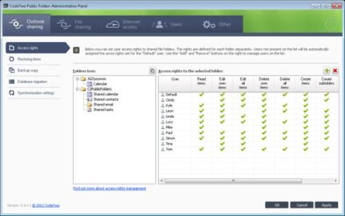 Capture d'écran CodeTwo Public Folders