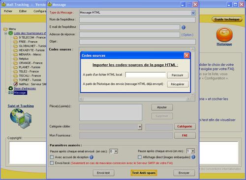 Capture d'écran Mail Tracking