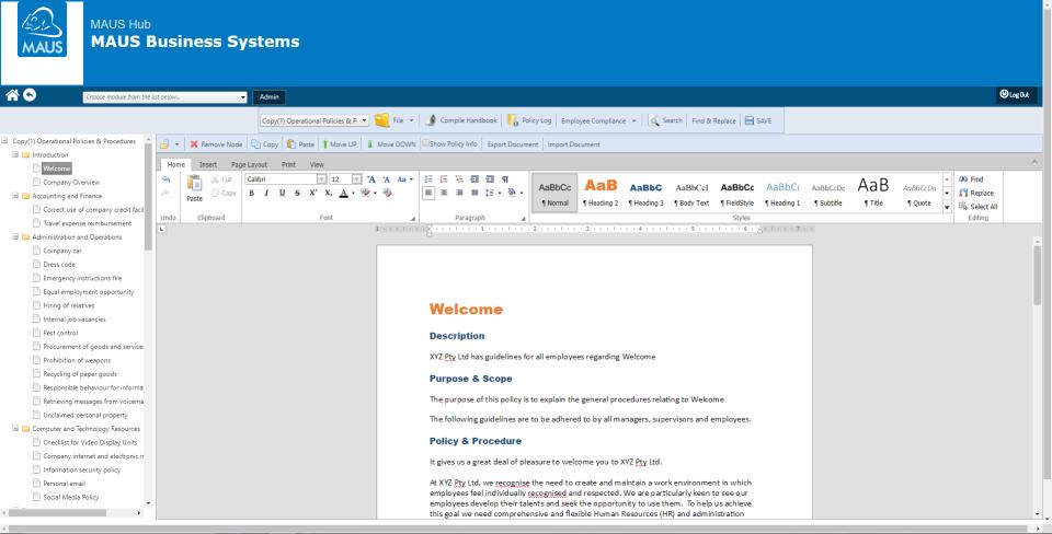 Capture d'écran MAUS Policies / Procedures