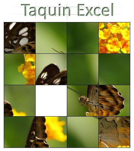 Capture d'écran Taquin sous Excel