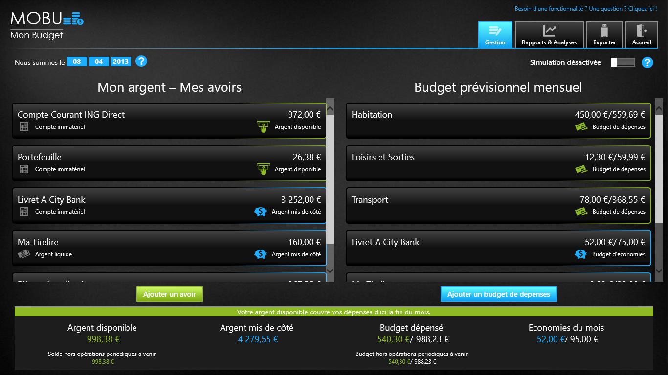 Capture d'écran MoBu – Gestion d'argent