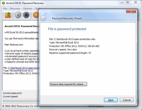 Capture d'écran Accent EXCEL Password Recovery