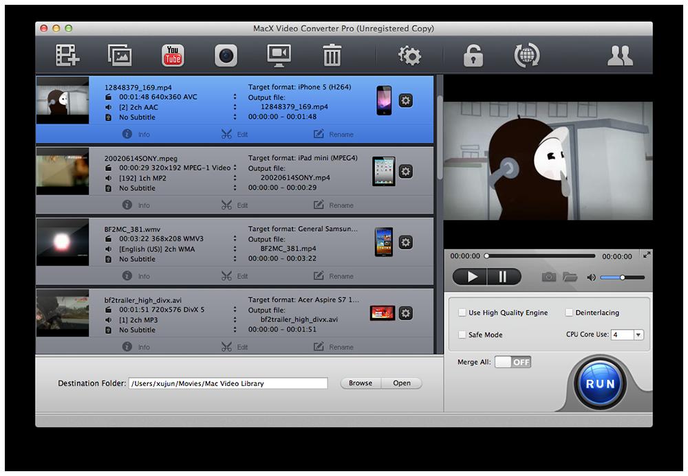 Capture d'écran MacX Video Converter Pro