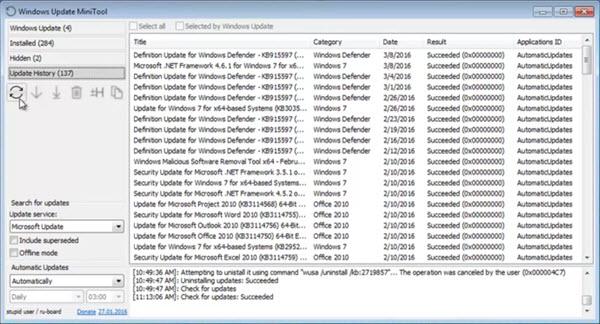 Capture d'écran Windows Update MiniTool