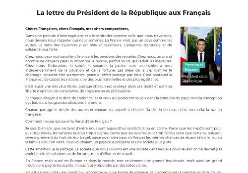 Capture d'écran La lettre du Président de la République aux Français