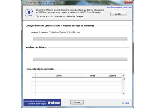 Capture d'écran Clean Virus MSN