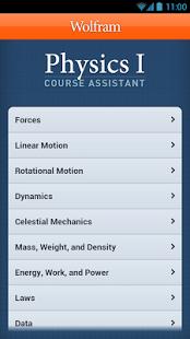 Capture d'écran Physics I Course Assistant