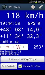 Capture d'écran GPS-Tacho