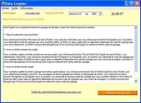 Capture d'écran Data Crypter