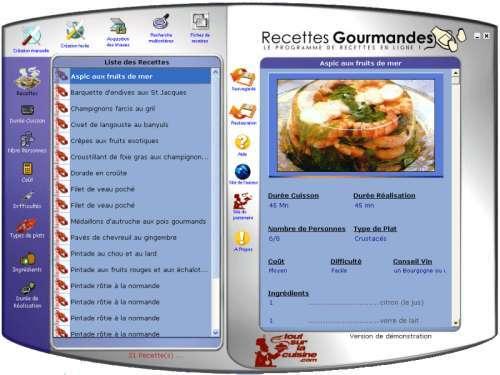 Capture d'écran Recettes Gourmandes