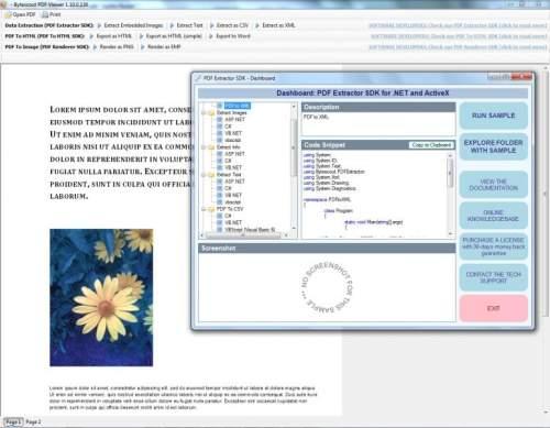 Capture d'écran PDF Extractor SDK