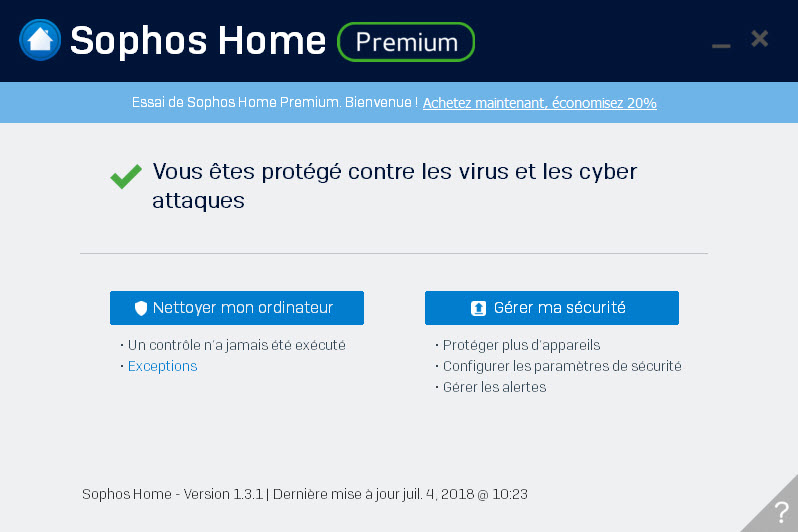Capture d'écran Sophos Home