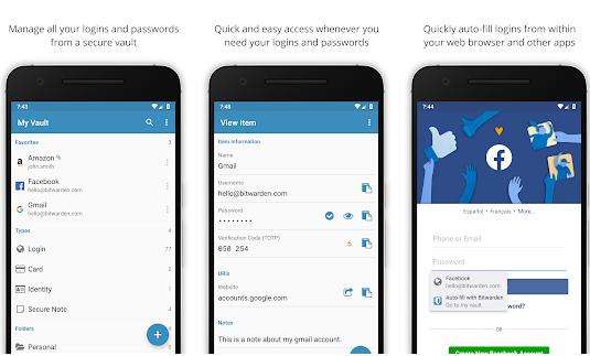 Capture d'écran Bitwarden – Gestionnaire de mot de passe Android