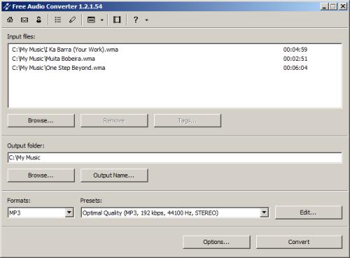 Capture d'écran Free Audio Converter