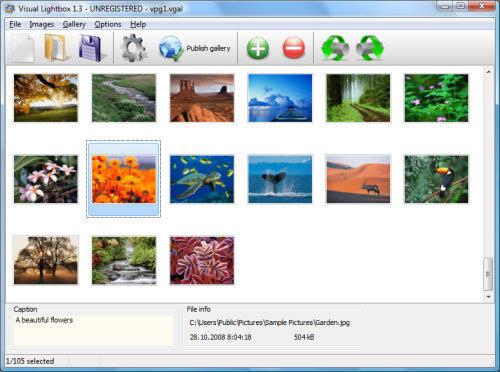 Capture d'écran VisualLightBox