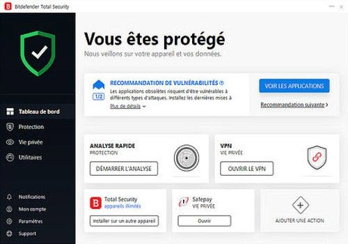 Capture d'écran Bitdefender Small Office Security