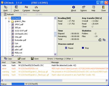 Capture d'écran CDCheck