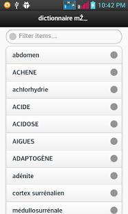 Capture d'écran Dictionnaire Médical
