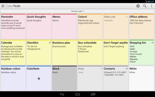 Capture d'écran ColorNote Bloc-notes notes