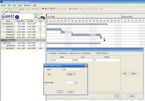 Capture d'écran GanttProject