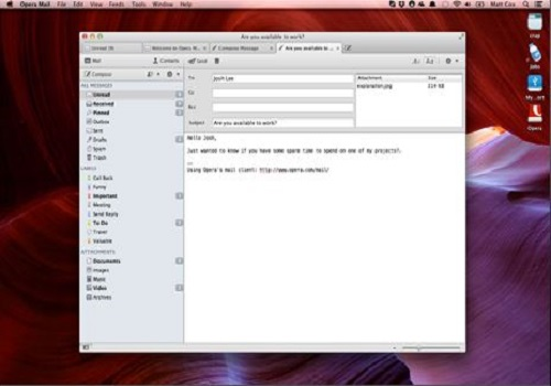 Capture d'écran Opera Mail