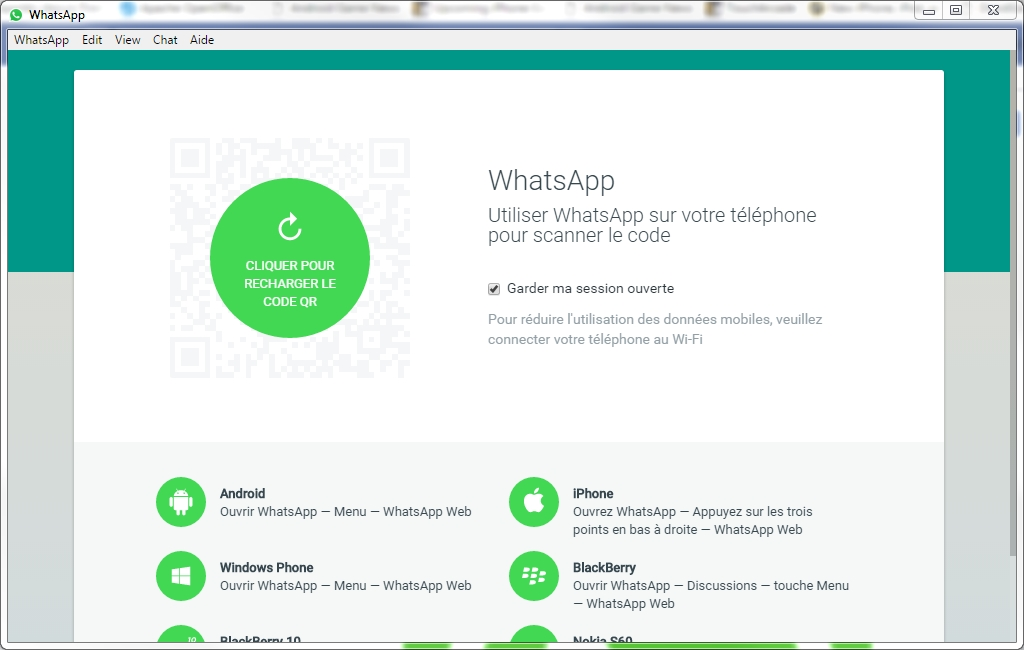 Capture d'écran Whatsapp pour Windows
