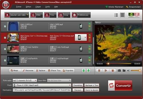 Capture d'écran 4Videosoft iPhone 4 Vidéo Convertisseur