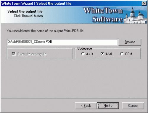 Capture d'écran DBF to PDB
