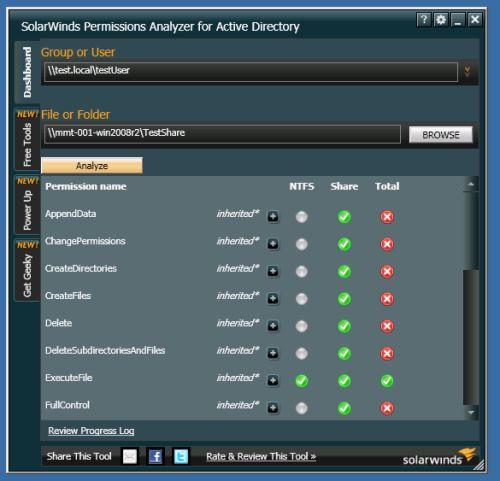 Capture d'écran SolarWinds Free Permissions Analyzer