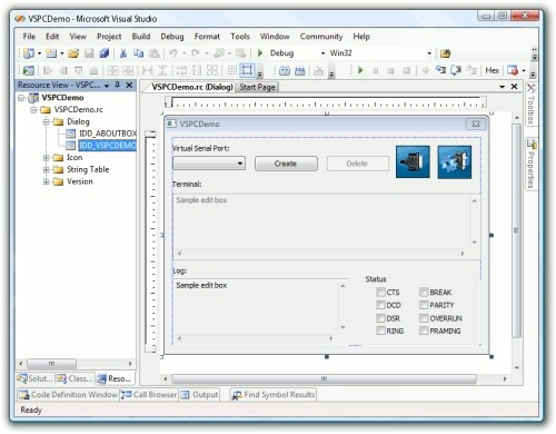 Capture d'écran Virtual Serial Port Control